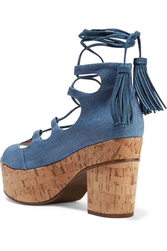 Minilila lace-up denim platform sandals | SCHUTZ | Sale up to 70% off | THE  OUTNET