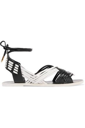 BALMAIN Matti woven leather and suede sandals