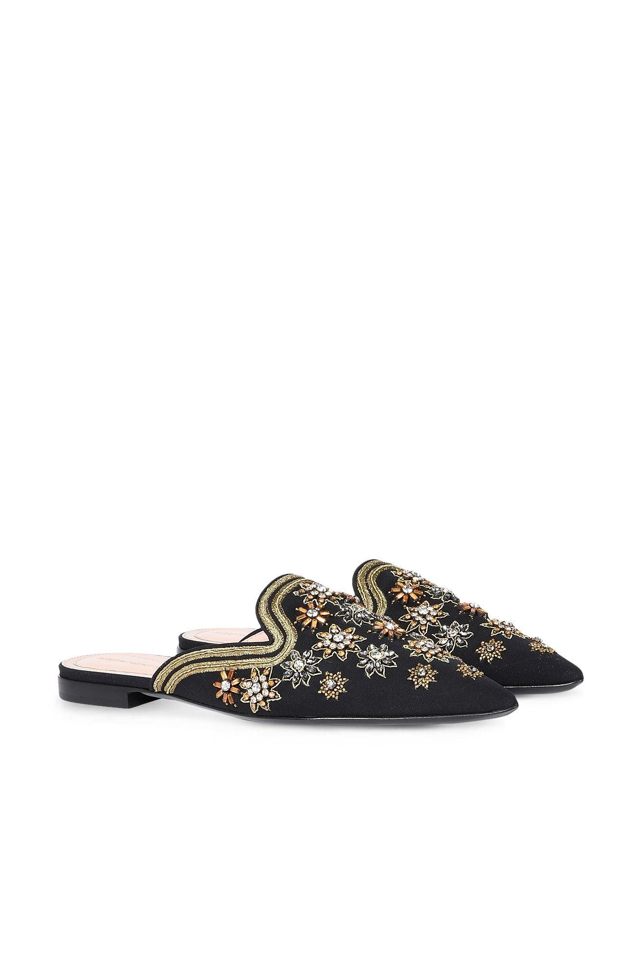 Mia Mules with gold embroidery