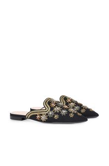 ALBERTA FERRETTI Mia Mules with gold embroidery Mia Mule Woman f