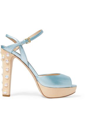 MOSCHINO CHEAP AND CHIC Metallic faux-pearl embellished leather pumps