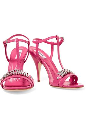 MOSCHINO Embellished patent-leather sandals