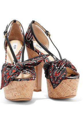 MOSCHINO Leather and printed voile cork sandals
