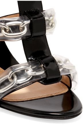MOSCHINO PVC and chain-trimmed patent-leather sandals