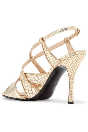 MOSCHINO Metallic snake-effect leather sandals