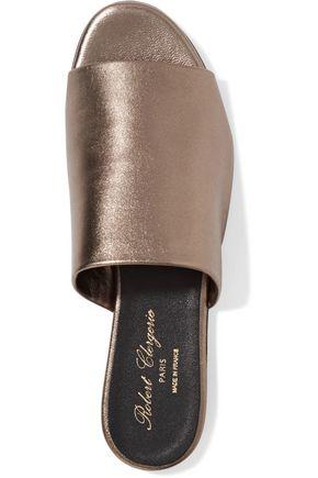 ROBERT CLERGERIE Gato metallic leather slides