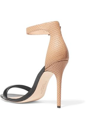 HALSTON HERITAGE Smooth and snake-effect leather sandals