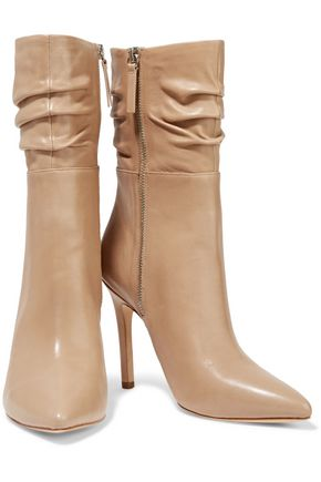 HALSTON HERITAGE Ruched leather boots