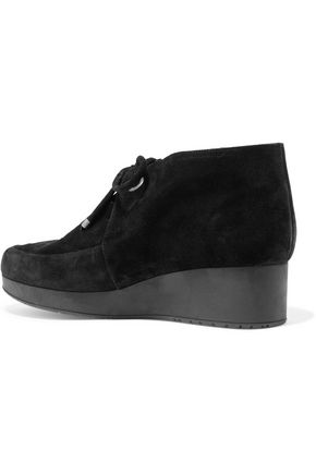 ROBERT CLERGERIE Tam cutout suede wedge boots