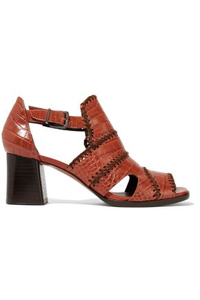 ROBERT CLERGERIE Paloma embroidered croc-effect leather sandals