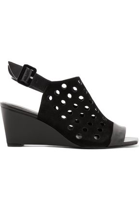 ROBERT CLERGERIE Leather-trimmed perforated suede wedge sandals