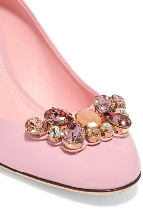 DOLCE & GABBANA Crystal-embellished patent-leather pumps
