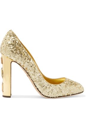 DOLCE & GABBANA Embellished sequined leather pumps