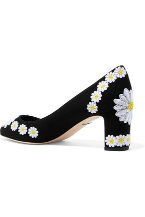 DOLCE & GABBANA Floral-appliquéd canvas pumps