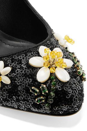 DOLCE & GABBANA Bead and sequin-embellished leather pumps