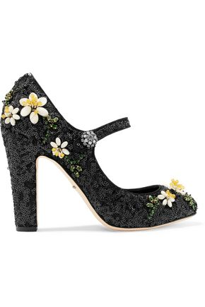 DOLCE & GABBANA Floral-appliquéd sequined leather Mary Jane pumps