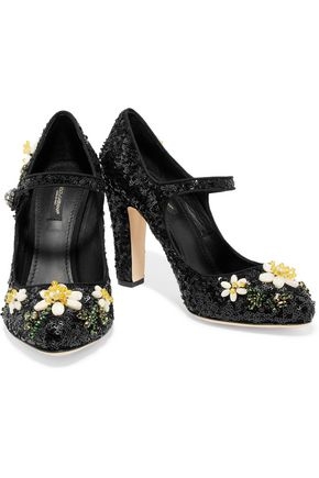... DOLCE & GABBANA Bead and sequin-embellished leather pumps ...