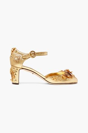 DOLCE & GABBANA Embellished metallic textured-leather pumps