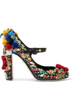 DOLCE & GABBANA Embellished leather Mary Jane pumps