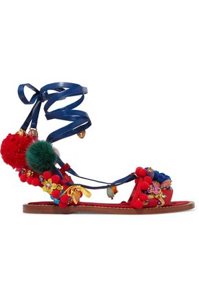 DOLCE & GABBANA Lace-up embellished leather sandals