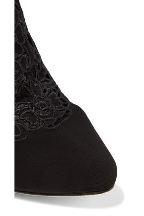 DOLCE & GABBANA Embroidered laser-cut mesh ankle boots