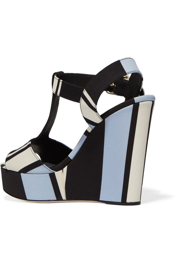 Striped canvas wedge sandals | DOLCE & GABBANA | Sale up to 70% off | THE  OUTNET