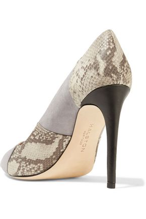 HALSTON HERITAGE Paneled suede and snake-effect leather pumps