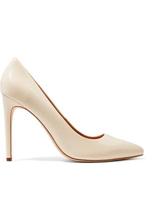 HALSTON HERITAGE Glossed lizard-effect leather pumps