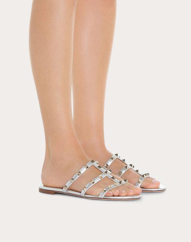 Metallic Rockstud Flat Slide Sandal