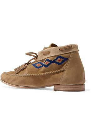 SOLUDOS Embroidered nubuck mocassin ankle boots