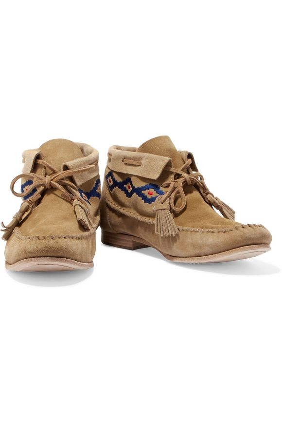 Embroidered nubuck mocassin ankle boots   SOLUDOS   Sale up to 70% off    THE OUTNET