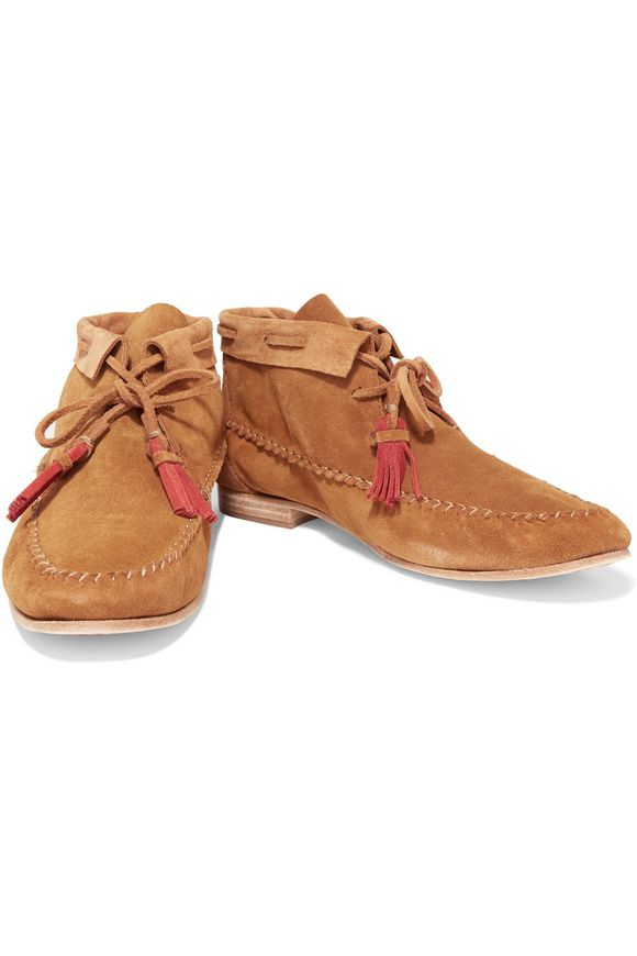 Tassel-trimmed nubuck moccasin ankle boots | SOLUDOS | Sale up to 70% off |  THE OUTNET