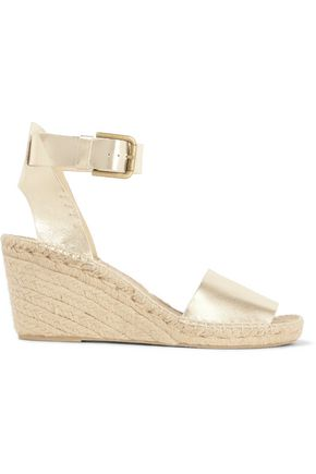 SOLUDOS Metallic leather wedge espadrilles