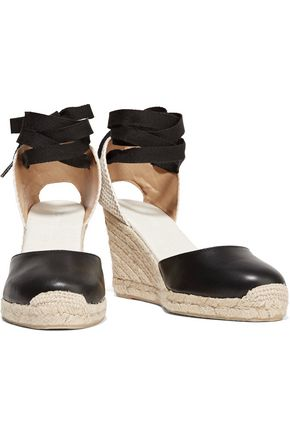 SOLUDOS Woven raffia and leather wedge espadrilles