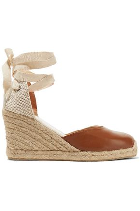 SOLUDOS Woven raffia and leather wedge espadrilles ...