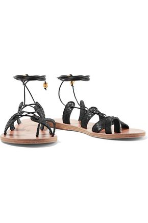 ANCIENT GREEK SANDALS + ilias LALAoUnis Alcyone lace-up leather-trimmed snake sandals