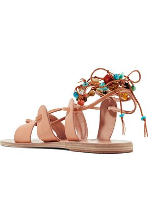 ANCIENT GREEK SANDALS Amaryllis embellished lace-up leather sandals