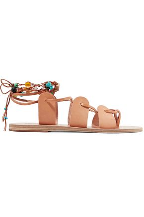 ANCIENT GREEK SANDALS Amaryllis embellished lace-up leather sandals