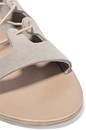 ANCIENT GREEK SANDALS Antigone lace-up leather-trimmed  leopard-print pony hair sandals