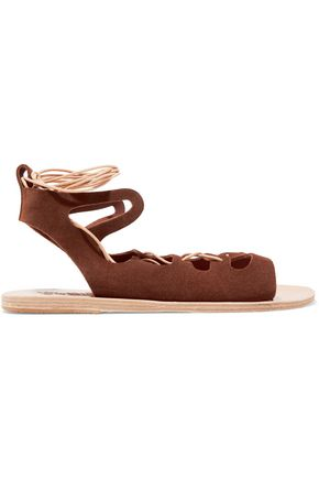 ANCIENT GREEK SANDALS Antigone lace-up leather-trimmed  leopard-print pony hair sandals