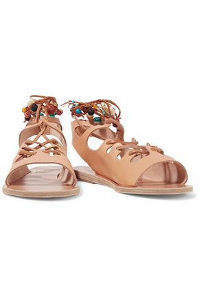 ANCIENT GREEK SANDALS Antigone embellished lace-up leather sandals
