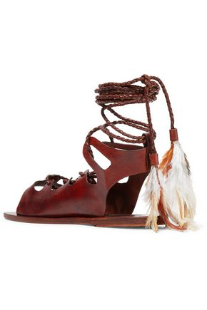 ANCIENT GREEK SANDALS + CARAVANA Antigone Tulum feather-embellished leather sandals