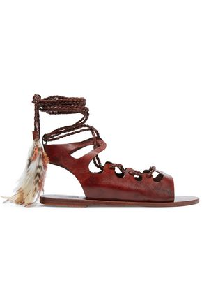 ANCIENT GREEK SANDALS + CARAVANA Antigone Tulum feather-embellished leather  sandals ...