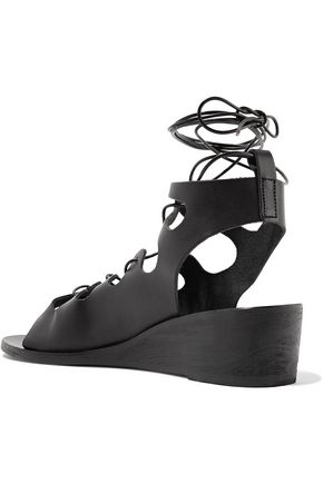 ANCIENT GREEK SANDALS Antigone lace-up leather wedge sandals
