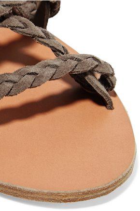 ANCIENT GREEK SANDALS Kariatida lace-up braided suede sandals