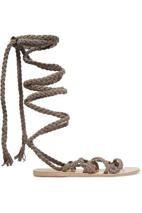 ANCIENT GREEK SANDALS Kariatida lace-up braided suede sandals