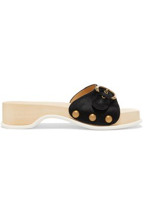 MARC JACOBS Anita buckled calf hair clogs