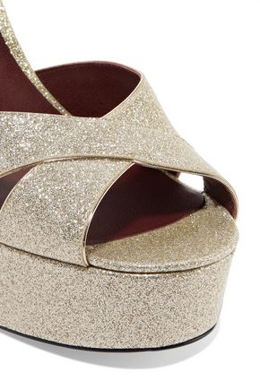 MARC JACOBS Debbie glittered patent-leather platform sandals