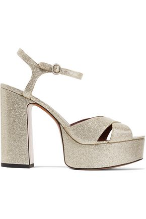 MARC JACOBS Debbie glittered patent-leather platform sandals