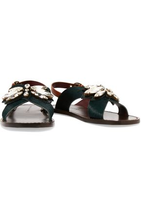 MARC JACOBS Essex crystal-embellished calf-hair sandals